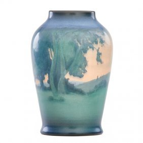 Sallie Coyne; Rookwood Scenic Vellum Vase