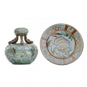 Brannam Pottery Barum Ware Vase And Plate