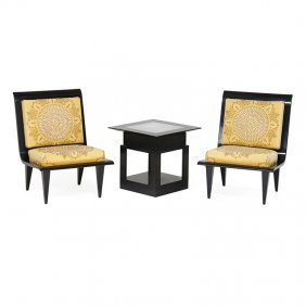 James Mont Pair Of Lounge Chairs, Side Table