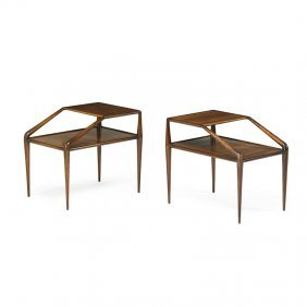 Ico Parisi (attr.) Pair Of Tiered Side Tables