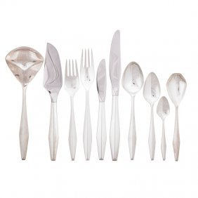 Gio Ponti; Reed & Barton 85-piece Diamond Flatware