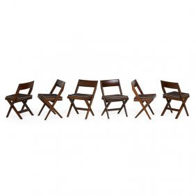 Pierre Jeanneret Six Side Chairs