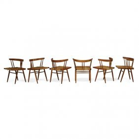 George Nakashima Six Grass-seated Chairs