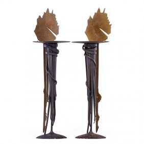 "Albert Paley Two ""sunset"" Candlesticks"