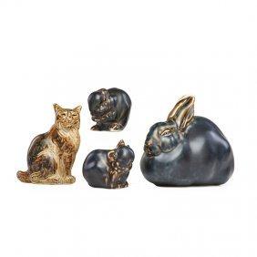 Royal Copenhagen Four Glazed Stoneware Animals