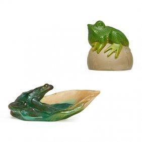 Daum; Margit Toth Pâte-de-verre Frogs