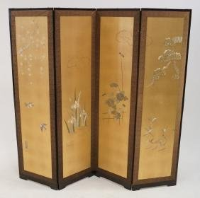 JAPANESE 4-PANEL EMBROIDERED SILK SCREEN, SIGNED.
