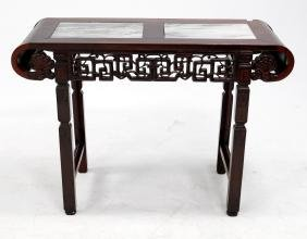 CHINESE CARVED HUANGHUALI ALTER TABLE WITH MARBLE-TOP