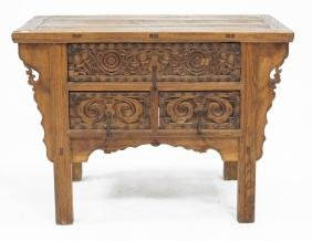 PHILIPPINE SPANISH COLONIAL CARVED ALTAR TABLE, 19TH