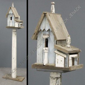 VINTAGE FOLK ART PAINTED COTTAGE BIRD HOUSE