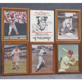 LOT (6) VINTAGE AUTOGRAPHED BASEBALL PHOTOGRAPHS