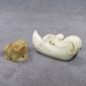 LOT (2) CHINESE CARVED JADE TOGGLES INCLUDING BIRD