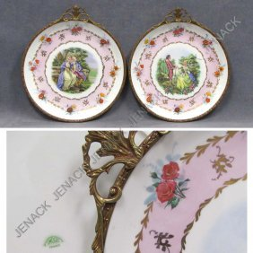 PAIR LIMOGES DECORATED PORCELAIN CHARGERS