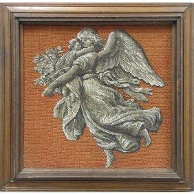 ANTIQUE BERLIN WORK PANEL, GUARDIAN ANGEL