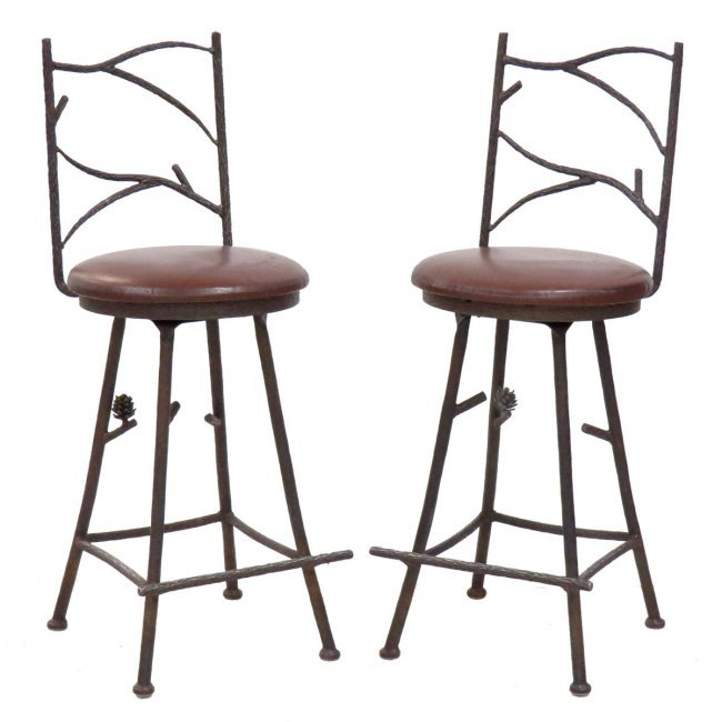 Set wrought iron twig work swivel bar stools lot