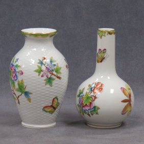 "LOT (2) HEREND ""VICTORIA"" PATTERN VASES"