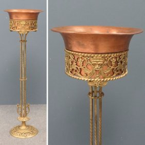 VINTAGE WROUGHT IRON, GILT, AND COPPER FERN STAND