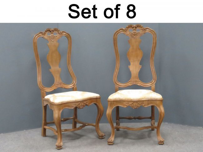 Set fine portuguese baroque style dining chairs lot