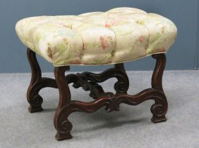 French Art Nouveau Carved Foot Stool With Scalamandre