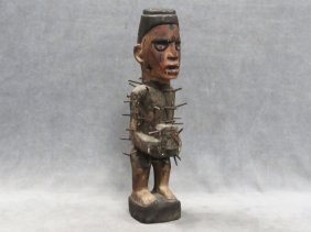Kongo, R.o.c., Carved And Painted Power Figure. Height