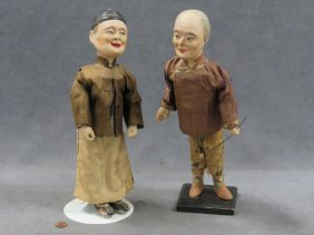Pair Chinese Decorated Mache Dolls, Late Ching. Height
