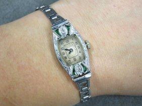 Art Deco Bulova 14k White Gold And Diamond 15-jewel