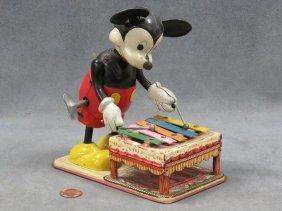 Linemar Mickey Mouse Litho Tin Mechanical Xylophone