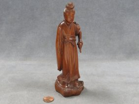 Chinese Carved Boxwood Figure With Tear Bottle. Height