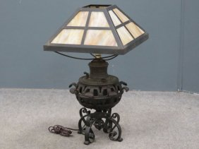 Bradley & Hubbard Cast Iron And Brass Fluid Lamp With