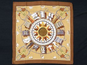 Hermes Silk Scarf Designed By Jacques Eudel, Nautical