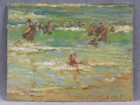 Edward Potthast (american/new York 1857-1927) Oil On