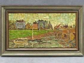 Continental Micro Mosaic Inlaid Panel, Village Canal,