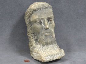Byzantine Style Carved Marble Portrait Head. Height 8""