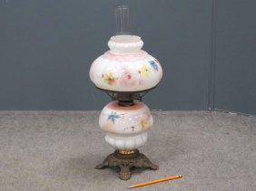 Victorian Hand Painted Opaque Glass Oil Lamp. Height 19