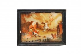 "Old Masters Style Reverse Painting On Glass, ""angels"