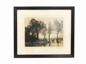 After Jen Baptiste-camille Corot, Etching, Landscape