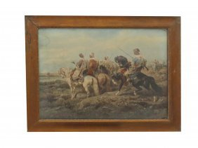 Schreyer, Orientalist Colored Lithograph, Signed. Sight