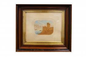 Victorian Watercolor And Carved Cork Picture,