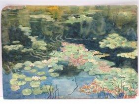 American School (20th Century) Watercolor, Reflections,