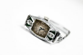 Art Deco Bulova 14k White Gold, Diamond And Gemstone