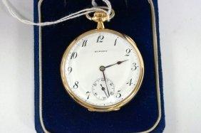 14k Yellow Gold Open-face Pocket Watch, E. Howard