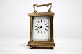 French Nickel Plated Brass Carriage Clock. Height 3