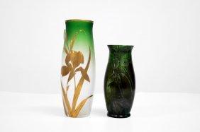 """Pair Art Nouveau Art Glass Vases. Height 9"""" & 6 3/4"""""""