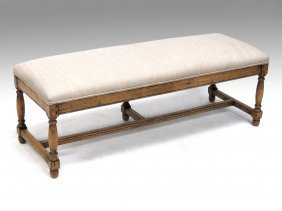French Style Carved Fruitwood Upholstered Bench. Height