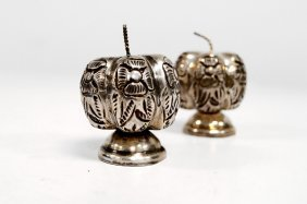 Pair Mexican Sterling Salt And Pepper. Overall/height 2