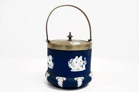 Wedgwood Cobalt Dip Jasperware Covered Biscuit Jar,