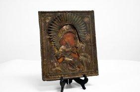 Russian Icon On Wood Panel, Vladimirskaya, Mother Of