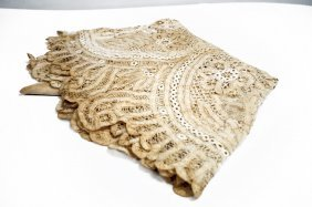 Battenburg Lace Table Cover, 19th Century. Diameter 64""