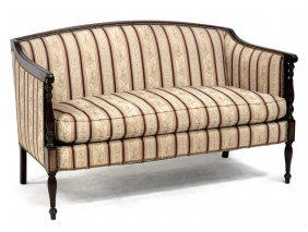 Sheraton Style Carved And Inlaid Mahogany Settee, By