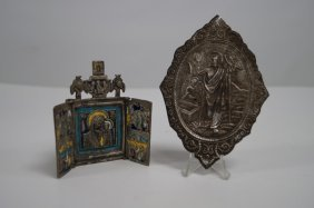 Lot (2) Russian Metal Icons Including Enameled